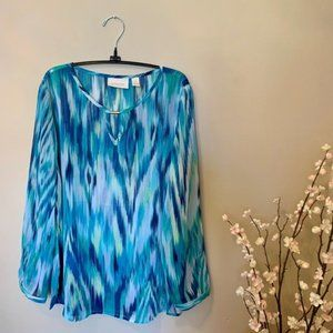 Chico's Turquoise Blue Sheer Blouse Size 2 Large